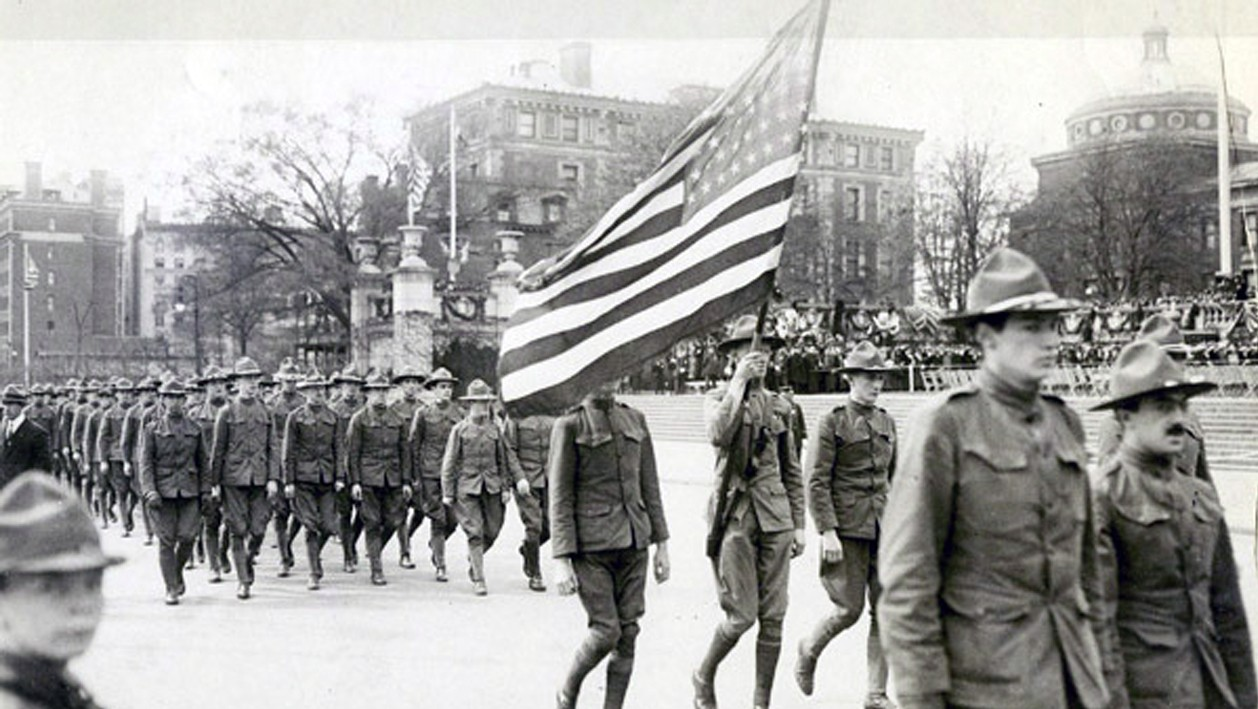 Formation of soldiers marching on West 116th Street